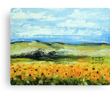 Sunflowers by Lisa Elley. Palette knife painting in oil Canvas Print
