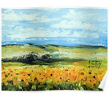 Sunflowers by Lisa Elley. Palette knife painting in oil Poster