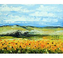Sunflowers by Lisa Elley. Palette knife painting in oil Photographic Print