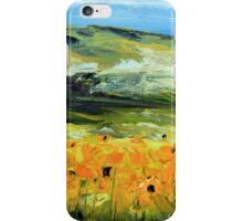 Sunflowers by Lisa Elley. Palette knife painting in oil iPhone Case/Skin