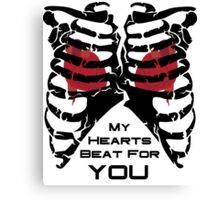 My Hearts Beat For You - Black Canvas Print