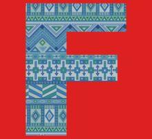 Letter F Blue Aztec Stripes Pattern Boho Monogram Initial One Piece - Long Sleeve