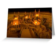 Sandcastle with bonfires Greeting Card