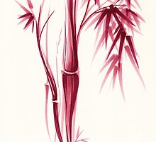 Inspiration - Sumie ink brush zen bamboo painting by Rebecca Rees