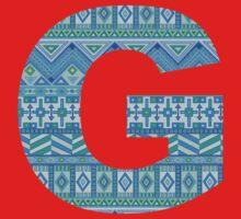 Letter G Blue Aztec Stripes Pattern Boho Monogram Initial One Piece - Short Sleeve