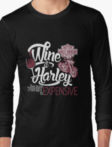 Wine And Harley T-shirt  Long Sleeve T-Shirt