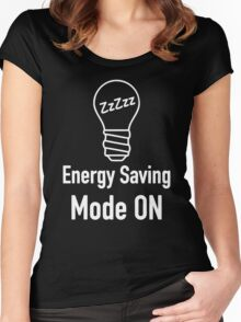 Energy Saving Mode On Women's Fitted Scoop T-Shirt