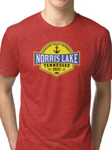 NORRIS LAKE TENNESSEE ANCHOR TN  NAUTICAL BOAT BOATING TVA 3 Tri-blend T-Shirt