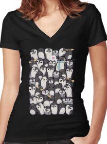 Penguins - Big Family Women's Fitted V-Neck T-Shirt