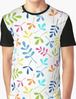 Multicolored Assorted Leaf Silhouettes on Cool White Graphic T-Shirt