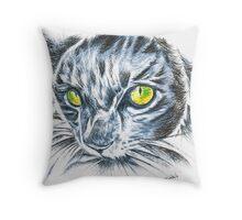 Toby green eyed cat Throw Pillow
