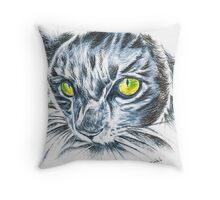 Toby green eyed cat Throw Pillow