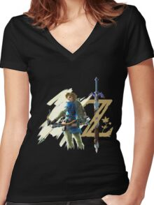 The Legend of Zelda: Breath of the Wild - Link & Logo Women's Fitted V-Neck T-Shirt