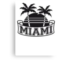 Miami Beach palm beach sea sun Pink Canvas Print