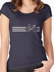 Bike Stripes Grey & White Women's Fitted Scoop T-Shirt