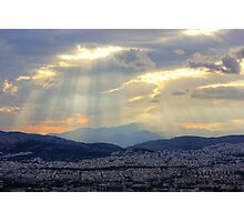 Sunbeams over the Mountains Photographic Print