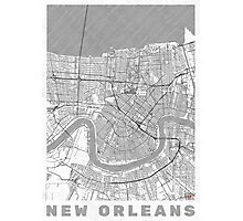 New Orleans Map Line Photographic Print