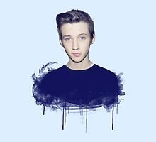 Youtuber Troye Sivan iPhone Case (Light Blue) by ceruleann