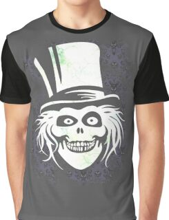 HATBOX GHOST WITH GRUNGY HAUNTED MANSION WALLPAPER Graphic T-Shirt