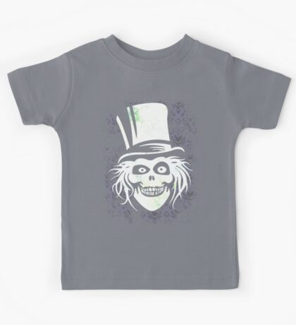 HATBOX GHOST WITH GRUNGY HAUNTED MANSION WALLPAPER Kids Tee