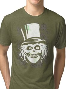 HATBOX GHOST WITH GRUNGY HAUNTED MANSION WALLPAPER Tri-blend T-Shirt