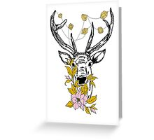 Deer with crystals and flowers Greeting Card