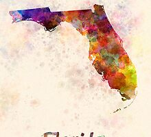 Florida US state in watercolor by paulrommer