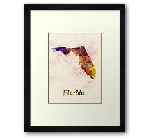 Florida US state in watercolor Framed Print