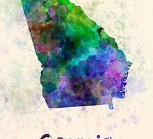 Georgia US state in watercolor by paulrommer