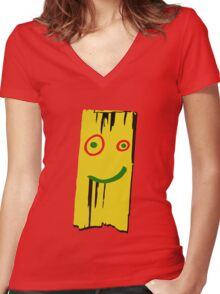 WOOD PLANK Women's Fitted V-Neck T-Shirt