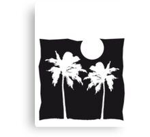 Two palm trees on the beach sun ocean moon night Canvas Print