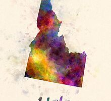Idaho US state in watercolor by paulrommer