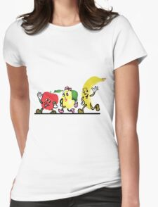 Cute Fruits walking along Womens Fitted T-Shirt