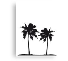 Two palm trees on the beach sun sea Canvas Print