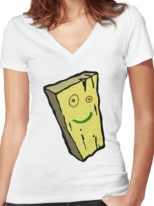 Plank Wood Women's Fitted V-Neck T-Shirt