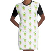 Pixelated Potted Plant Graphic T-Shirt Dress