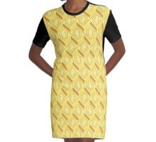 Banana Yellow Steps to the Roof Seamless Pattern Graphic T-Shirt Dress