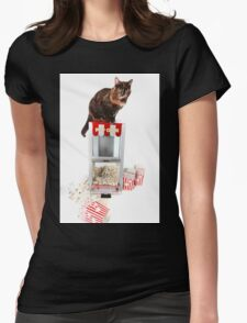 Cat on Pop Corn Machine Womens Fitted T-Shirt