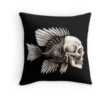 Skull Fish Throw Pillow