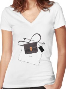 Black bag {Celine} #FASHION #CELINE Women's Fitted V-Neck T-Shirt