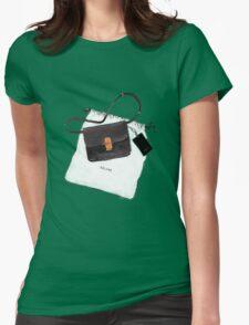 Black bag {Celine} #FASHION #CELINE Womens Fitted T-Shirt