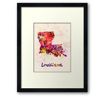 Louisiana US state in watercolor Framed Print