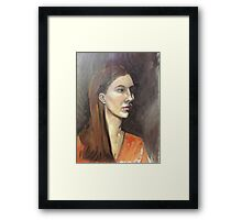 Portrait of a Brown haired Girl Framed Print