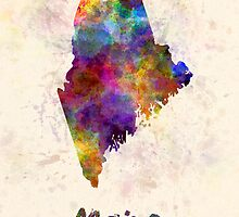 Maine US state in watercolor by paulrommer