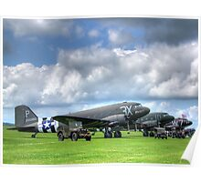 DC3 Flightline - Duxford - 2014 - HDR Poster