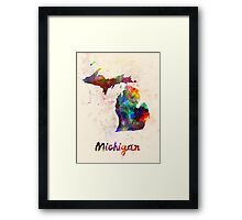 Michigan US state in watercolor Framed Print