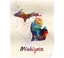 Michigan US state in watercolor Poster