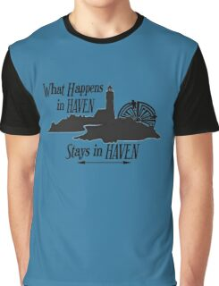 What Happens In Haven Lighthouse Black Logo Graphic T-Shirt
