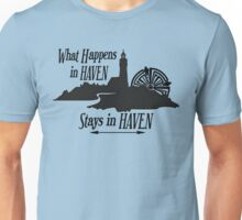 What Happens In Haven Lighthouse Black Logo Unisex T-Shirt