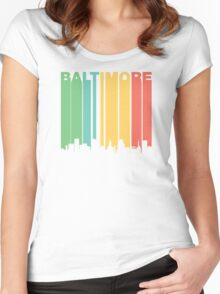 Vintage Baltimore Cityscape Women's Fitted Scoop T-Shirt